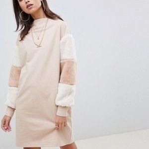 nwt ASOS fur sleeve sweatshirt dress us 10